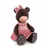Мишутка Milk сидячая в розовом бархатном платье