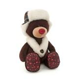 Медвежонок Choco сидячий в ушанке