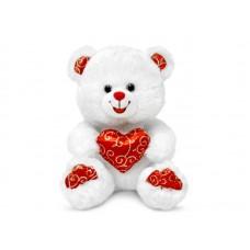 Мишка белый блестящий с сердцем - музыкальная игрушка.