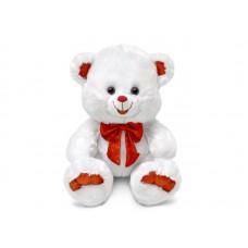 Медведь белый с красным бантом - музыкальная игрушка.
