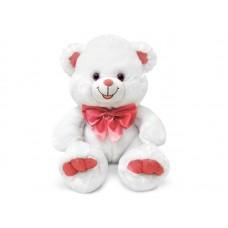 Медведь белый с бантом большой - музыкальная игрушка.