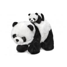 Панда-медведица, идет с малышом на спине - музыкальная игрушка.