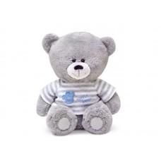 Медвежонок в кофточке в серую полоску - музыкальная игрушка.