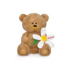 Медвежонок с большой ромашкой - музыкальная игрушка.