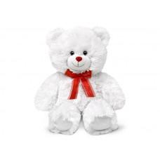 Большой белый мишка с красным бантом - музыкальная игрушка.