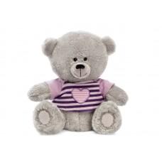 Медвежонок Масик в сиреневой футболке - музыкальная игрушка.