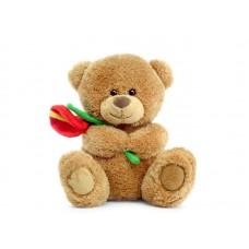 Медвежонок Сэмми с красной каллой - музыкальная игрушка