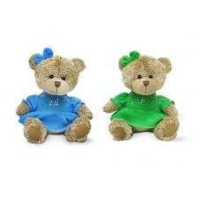 Медвежонок-девочка в платье с блёстками - музыкальная игрушка.