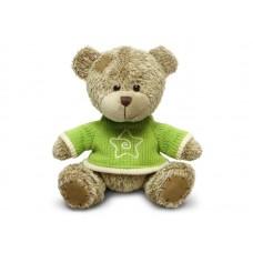 Медвежонок лохматый в зелёном свитере - музыкальная игрушка.