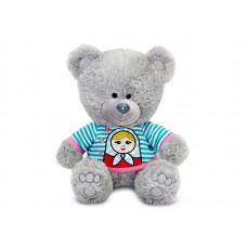 Медвежонок Ники в футболке с матрёшкой - музыкальная игрушка.