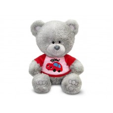 Медвежонок Ники в футболке с машинкой - музыкальная игрушка.