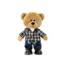 Медведь Оливер в клетчатой куртке и синих брюках - музыкальная игрушка.