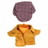 Шерстяное пальто и клетчатая кепка для Зайки Ми мальчика
