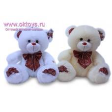 Медведь с атласным клетчатым бантом