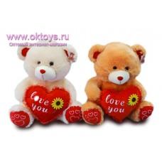 Медведь с сердечком *Love you*, украшенным подсолнухом - музыкальная игрушка