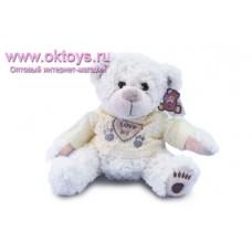 Белый медведь Семен в желтом свитере