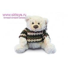 Медведь Семен в бело-зеленом свитере с узором