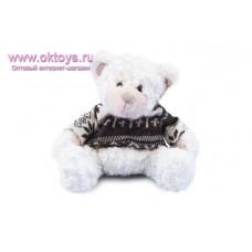 Белый медведь Семен в бело-коричневом свитере