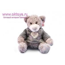 Бежевый медведь Семен в сером-зеленом свитере