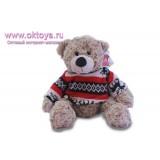 Бежевый медведь Семен в свитере с оленями