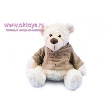 Белый медведь Семен в сером свитере