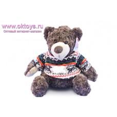 Коричневый медведь Семен в свитере с узорами