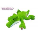 Крокодил с вышитым цветком