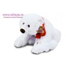 Белый медведь, похожий на настоящего,  в шарфе, - музыкальная игрушка