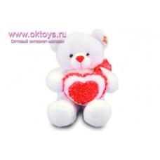 Медведь с бантом и сердечком с розочками - музыкальная игрушка
