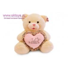 Медведь с розовым сердцем и надписью