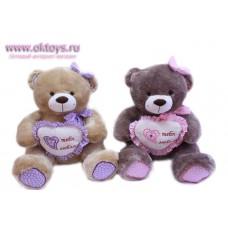 Медведь с сердцем и бантом в цветочек