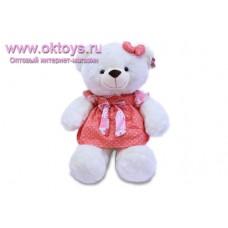 Медведица в красном платье в горошек