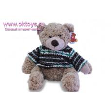Бежевый медведь Семен в свитере с зелеными полосками