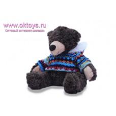 Бурый медведь Семен в свитере с синим рисунком