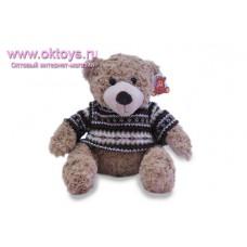 Бежевый медведь Семен в черном свитере