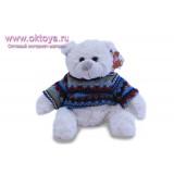 Белый медведь Семен в свитере с синими полосками
