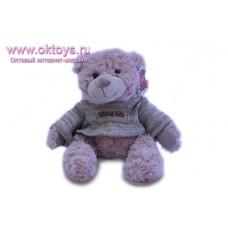 Бежевый медведь Семен в сером свитере