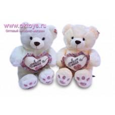 Медведь с сердцем с надписью и рисунками
