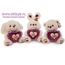 Собака, зайка и медведь с сердечком - музыкальная игрушка