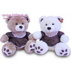 Медведица в коричневом платье в горошек - музыкальная игрушка