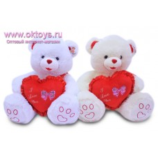 Медведь с красным сердцем с бантиком