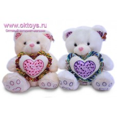 Медведь с двойным сердцем в горошек - музыкальная игрушка