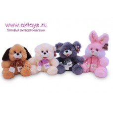 Зверята - медведь, собака, мышка, заяц - в шарфиках с надписью Love - музыкальная игрушка