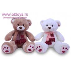 Медведь в шарфе с аппликацией - музыкальная игрушка