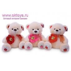 Медведь с бантом и цветком-смайликом