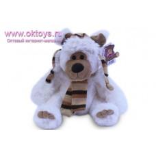 Белый медведь Семен в шапке и шарфе