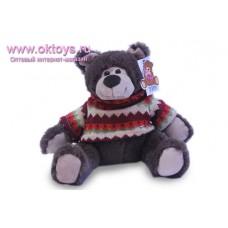 Бурый медведь Семен в красном свитере