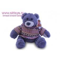 Серый медведь Семен в коричневом свитере