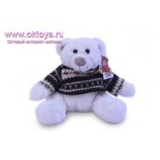 Белый медведь Семен в коричневом свитере с узором