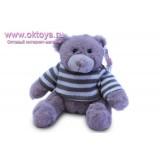 Бежевый медведь Семен в полосатом свитере